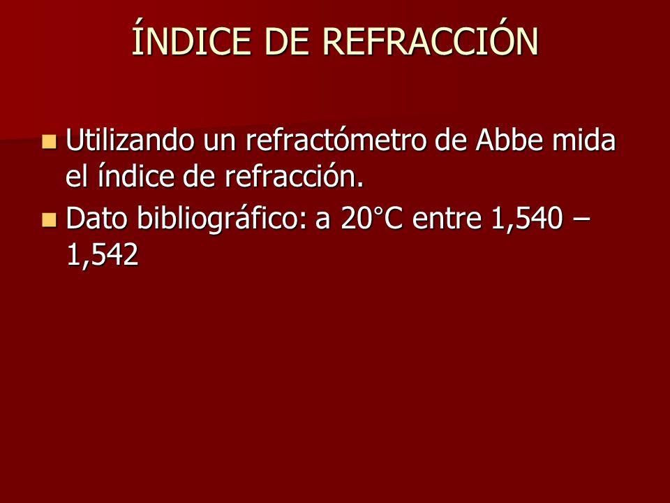 ÍNDICE DE REFRACCIÓN Utilizando un refractómetro de Abbe mida el índice de refracción.
