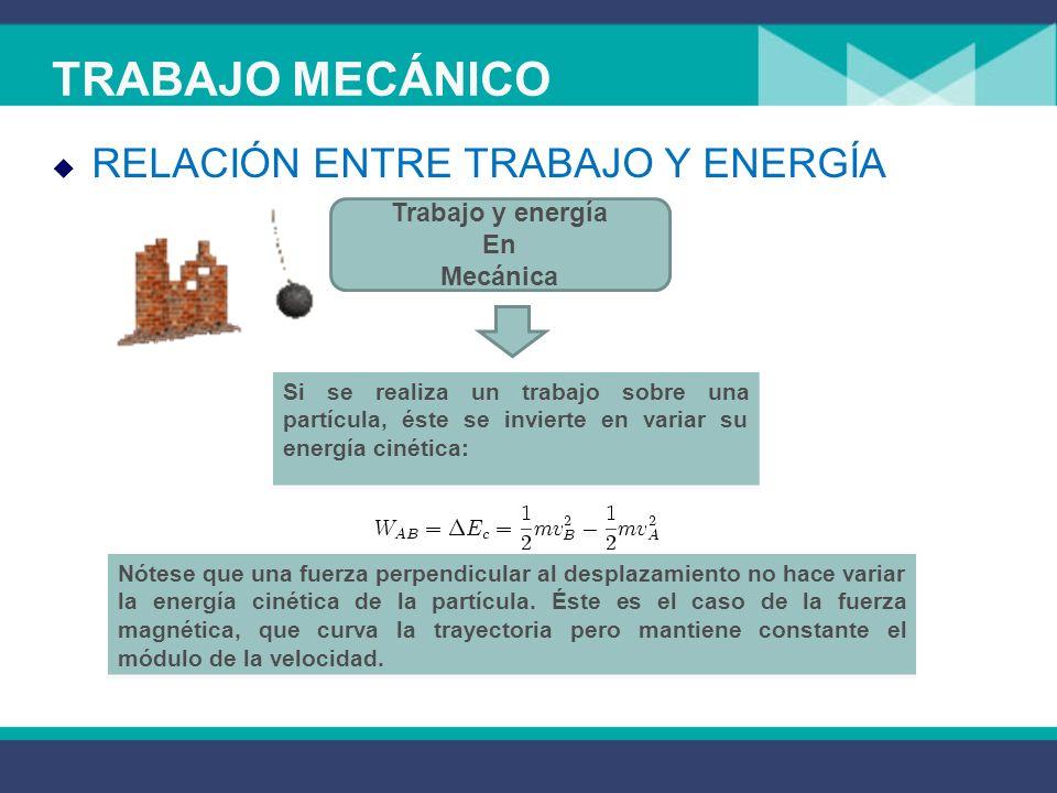TRABAJO MECÁNICO RELACIÓN ENTRE TRABAJO Y ENERGÍA Trabajo y energía En