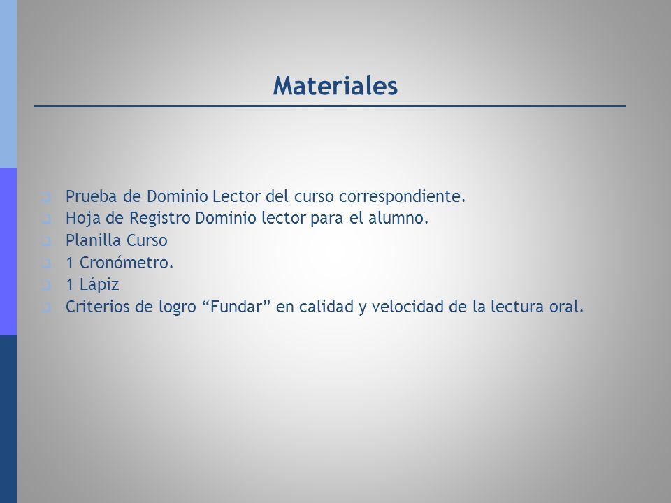 Materiales Prueba de Dominio Lector del curso correspondiente.