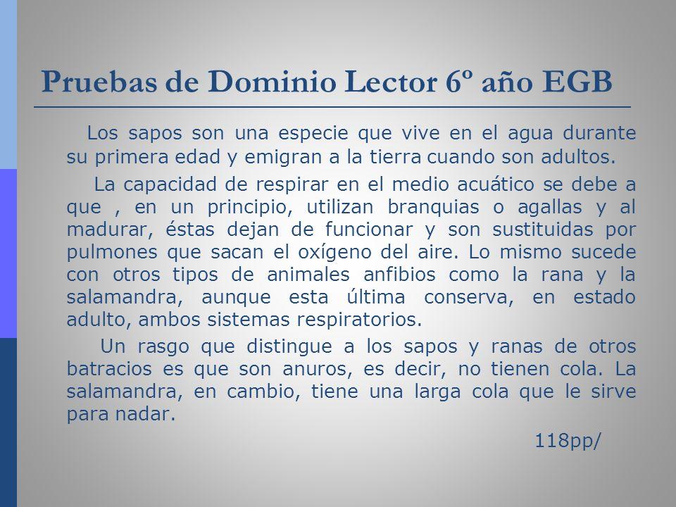 Pruebas de Dominio Lector 6º año EGB