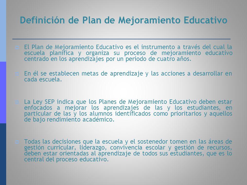 Definición de Plan de Mejoramiento Educativo