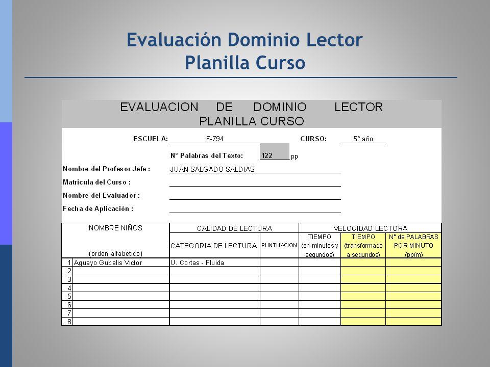 Evaluación Dominio Lector Planilla Curso