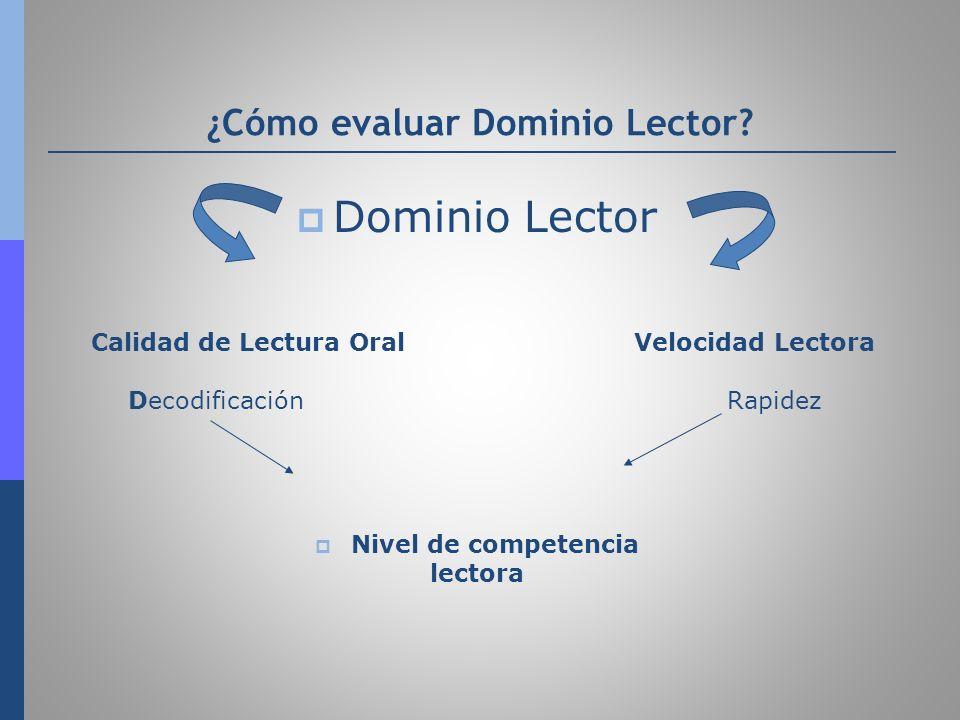 ¿Cómo evaluar Dominio Lector