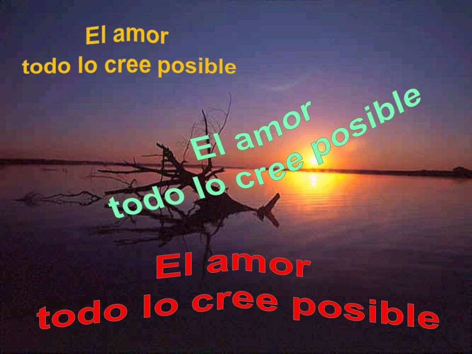 El amor todo lo cree posible El amor todo lo cree posible