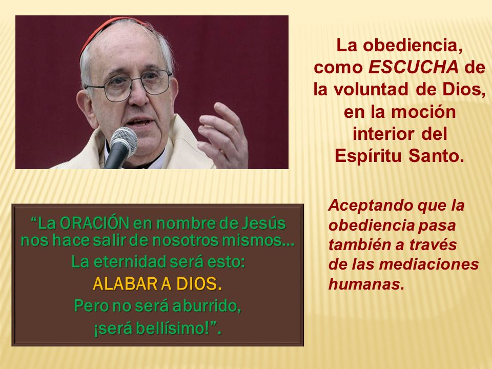 ALABAR A DIOS. La obediencia,