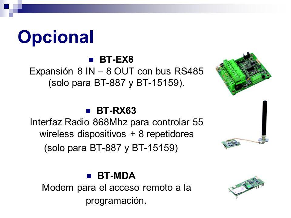 BT-MDA Modem para el acceso remoto a la programación.