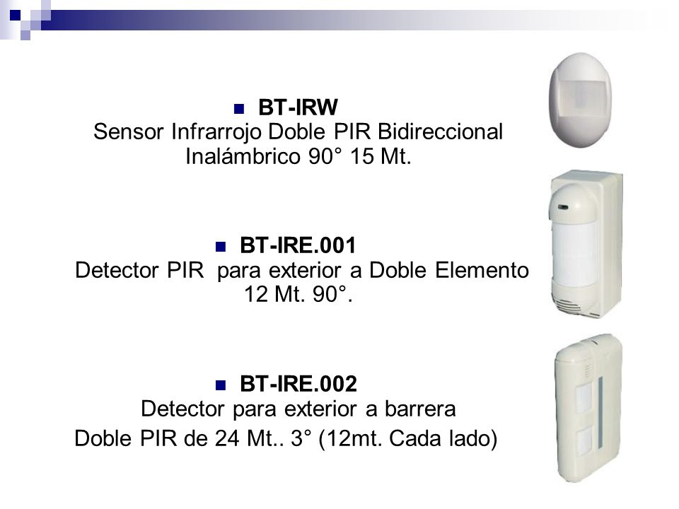 BT-IRE.001 Detector PIR para exterior a Doble Elemento 12 Mt. 90°.