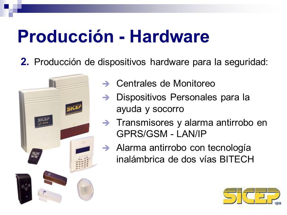 Producción - Hardware Producción de dispositivos hardware para la seguridad: Centrales de Monitoreo.