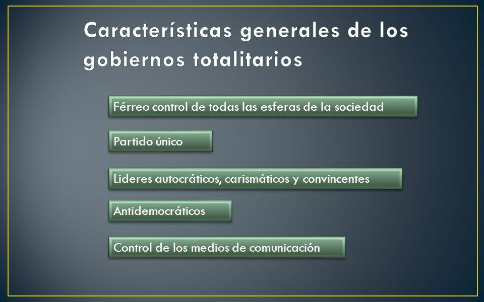 Características generales de los gobiernos totalitarios