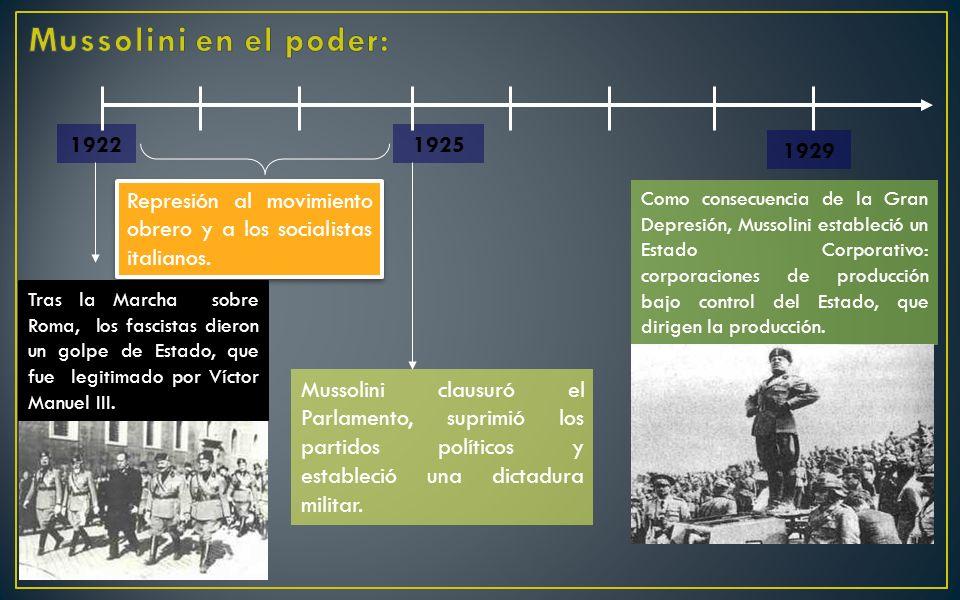Mussolini en el poder: 1922. 1925. 1929. Represión al movimiento obrero y a los socialistas italianos.