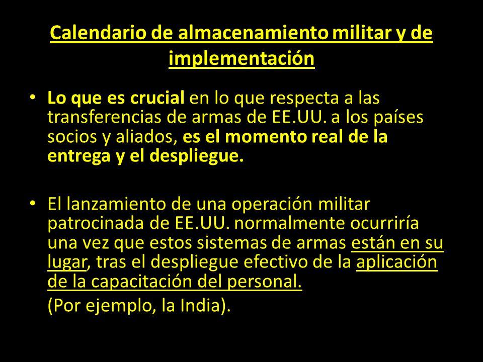 Calendario de almacenamiento militar y de implementación
