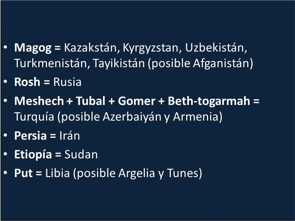 Magog = Kazakstán, Kyrgyzstan, Uzbekistán, Turkmenistán, Tayikistán (posible Afganistán)