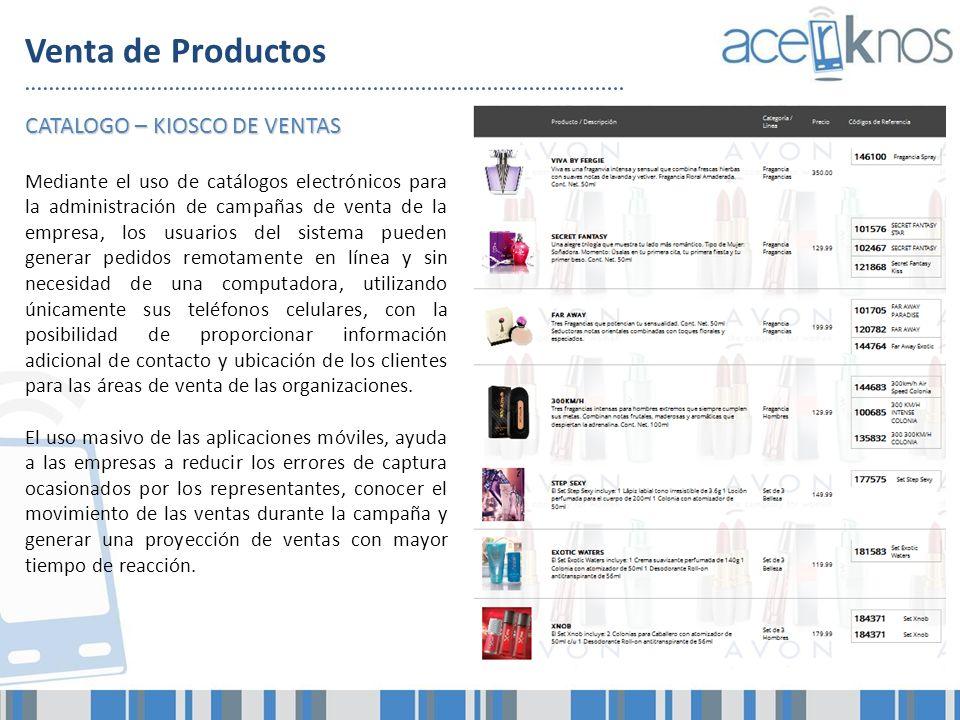 Venta de Productos CATALOGO – KIOSCO DE VENTAS