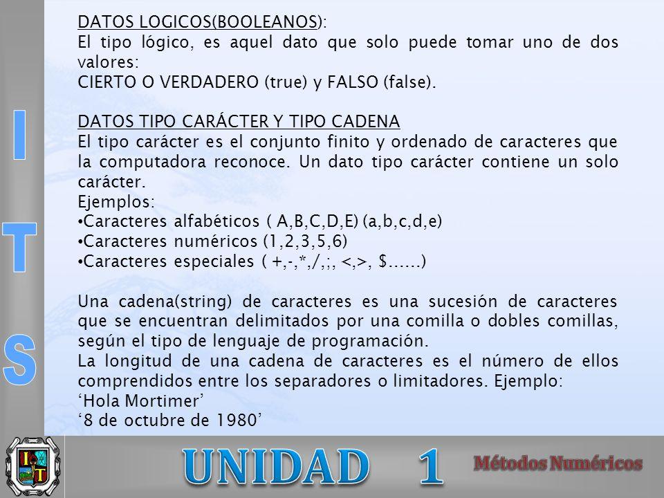 DATOS LOGICOS(BOOLEANOS):