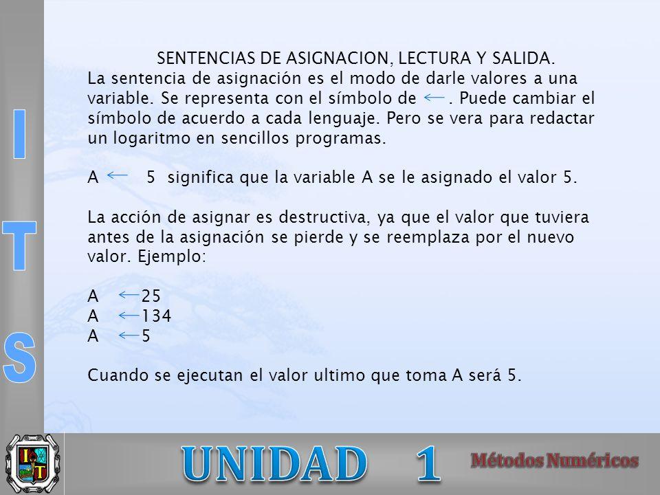 SENTENCIAS DE ASIGNACION, LECTURA Y SALIDA.