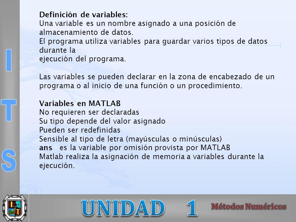 Definición de variables: