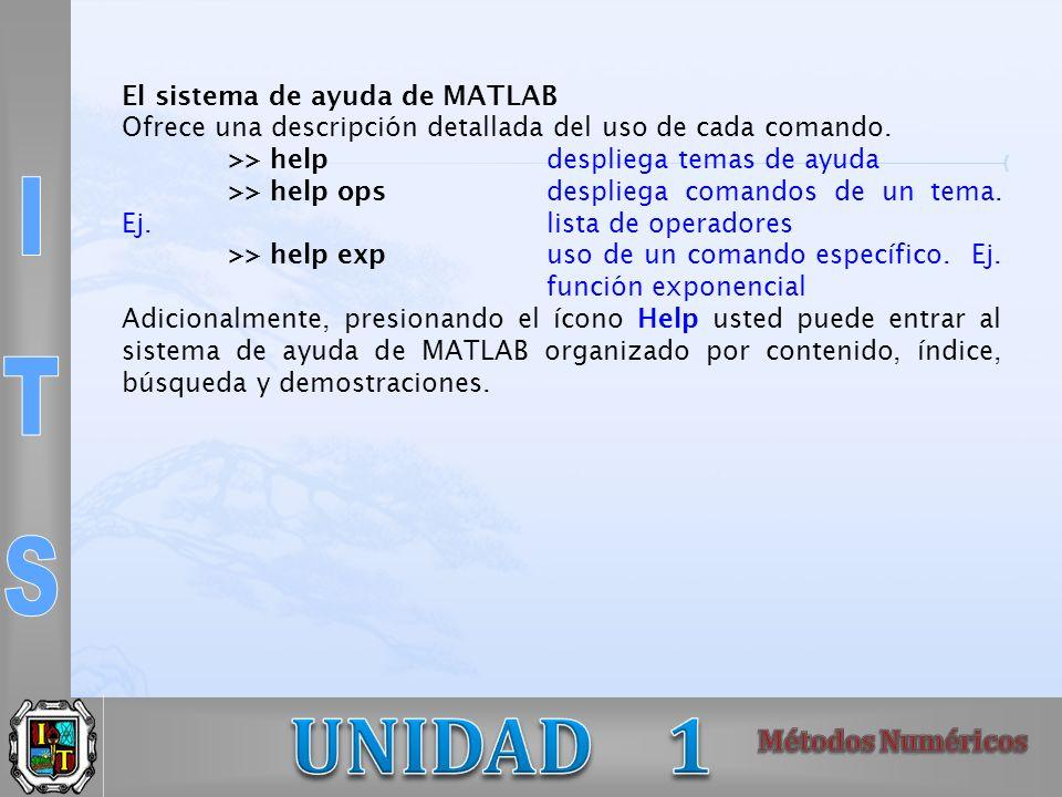 El sistema de ayuda de MATLAB