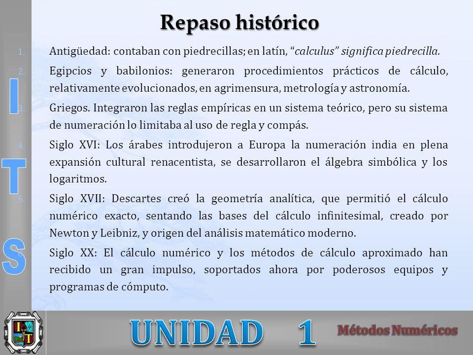 Repaso histórico Antigüedad: contaban con piedrecillas; en latín, calculus significa piedrecilla.