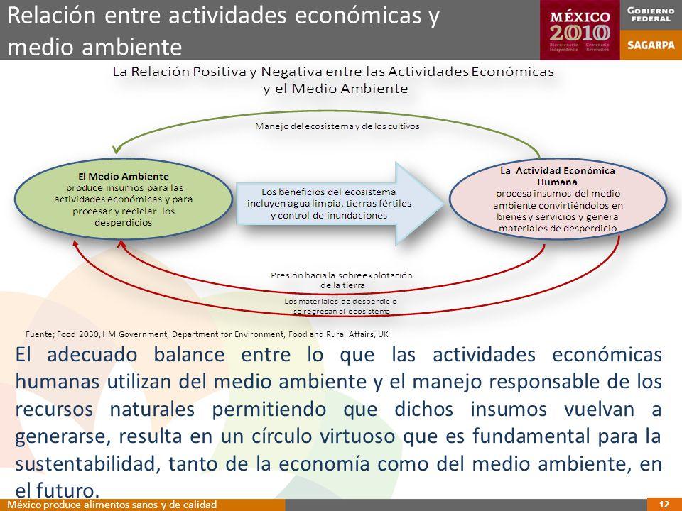 Relación entre actividades económicas y medio ambiente