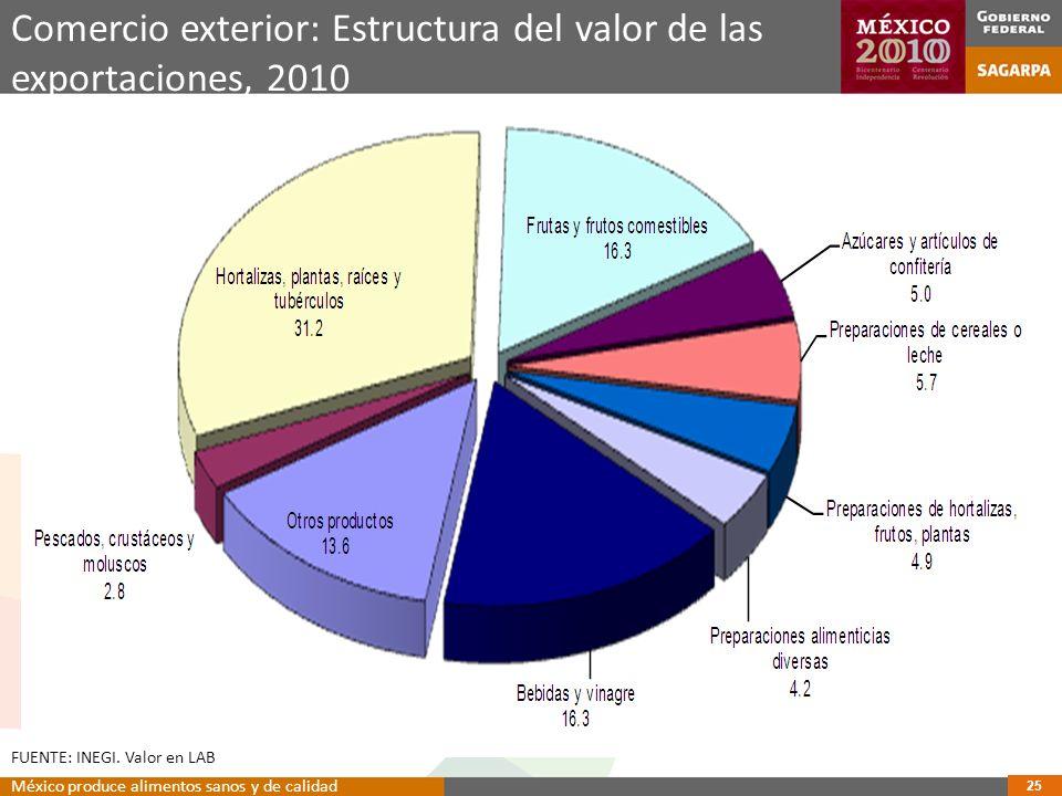 Comercio exterior: Estructura del valor de las exportaciones, 2010