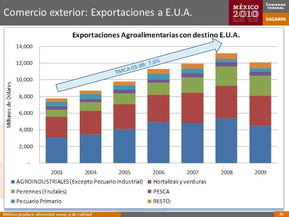 Comercio exterior: Exportaciones a E.U.A.