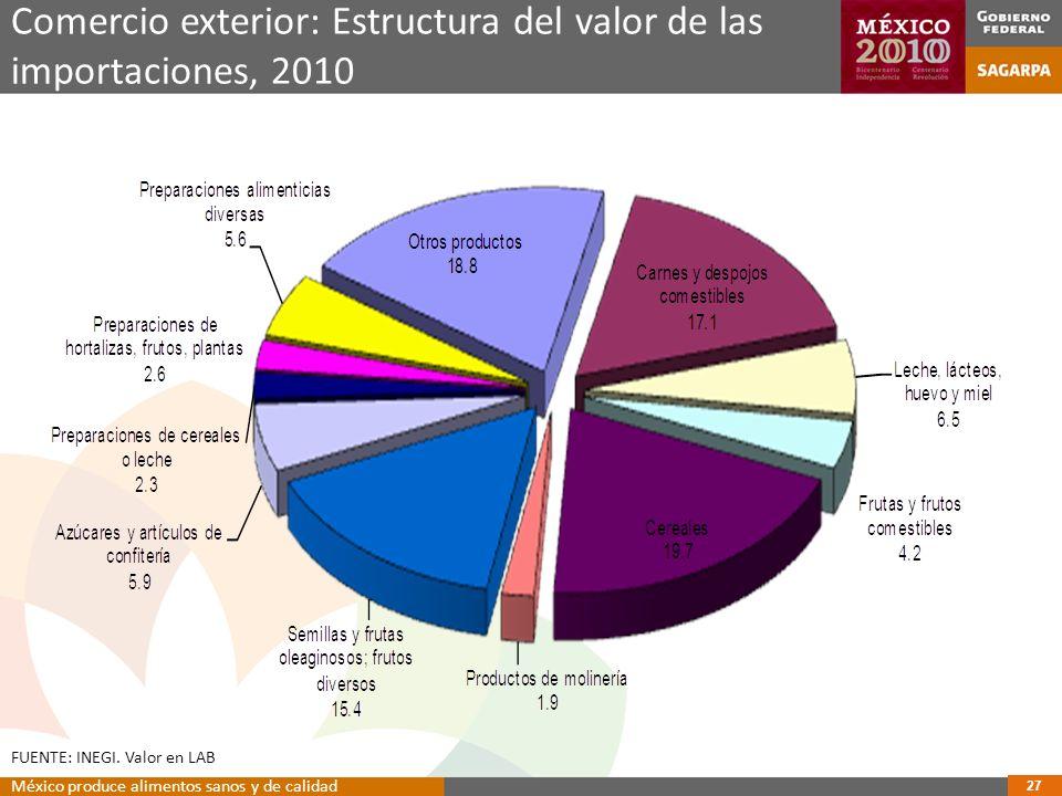 Comercio exterior: Estructura del valor de las importaciones, 2010