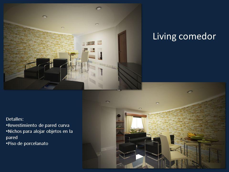 Living comedor Detalles: Revestimiento de pared curva