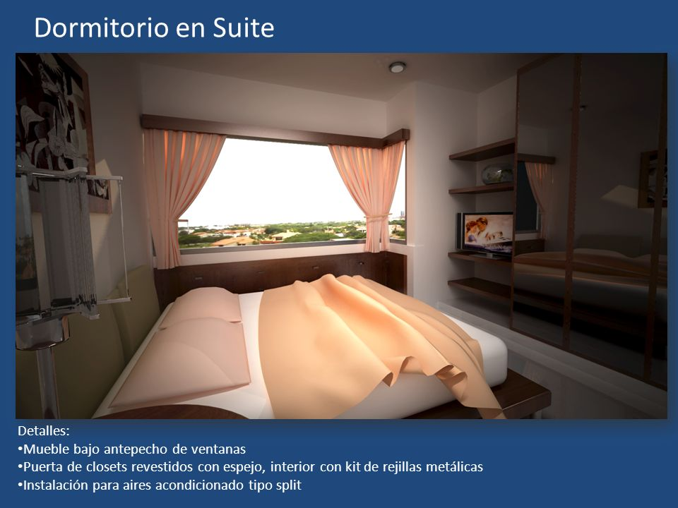 Dormitorio en Suite Detalles: Mueble bajo antepecho de ventanas