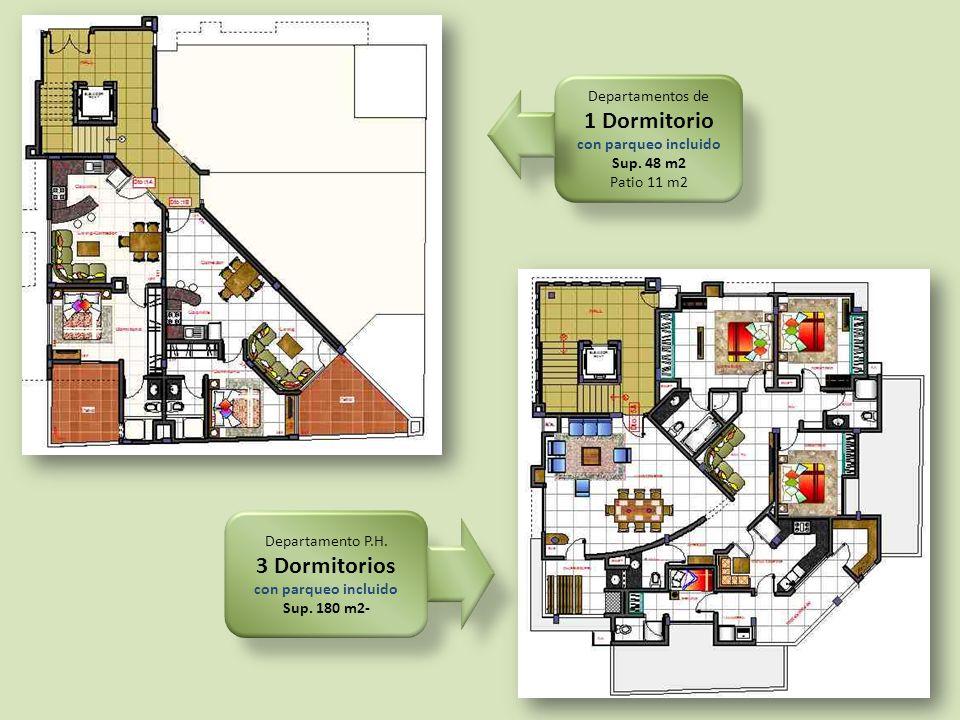 1 Dormitorio 3 Dormitorios