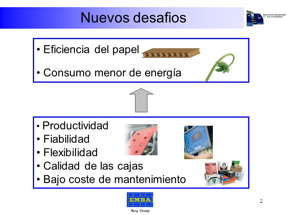 Nuevos desafios Eficiencia del papel Consumo menor de energía