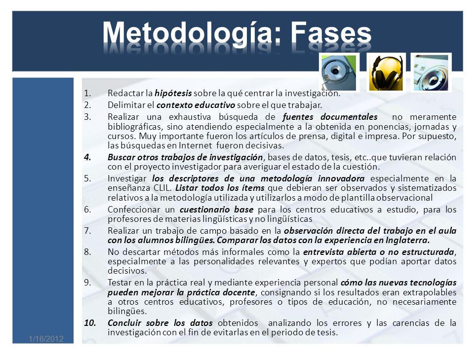 Metodología: Fases Redactar la hipótesis sobre la qué centrar la investigación. Delimitar el contexto educativo sobre el que trabajar.