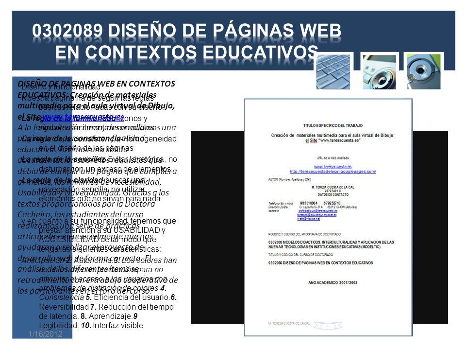 0302089 DISEÑO DE PÁGINAS WEB EN CONTEXTOS EDUCATIVOS