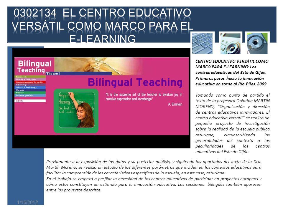 0302134 EL CENTRO EDUCATIVO VERSÁTIL COMO MARCO PARA EL E-LEARNING