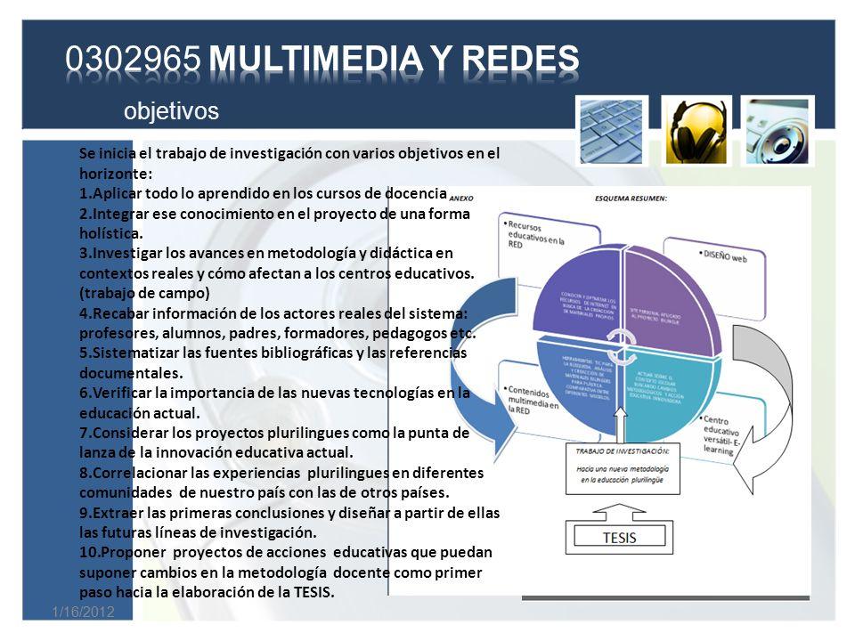 0302965 MULTIMEDIA Y REDES objetivos
