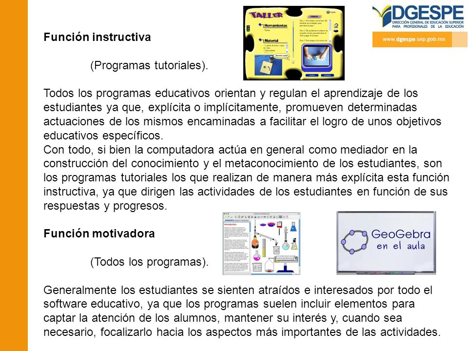 Función instructiva (Programas tutoriales).