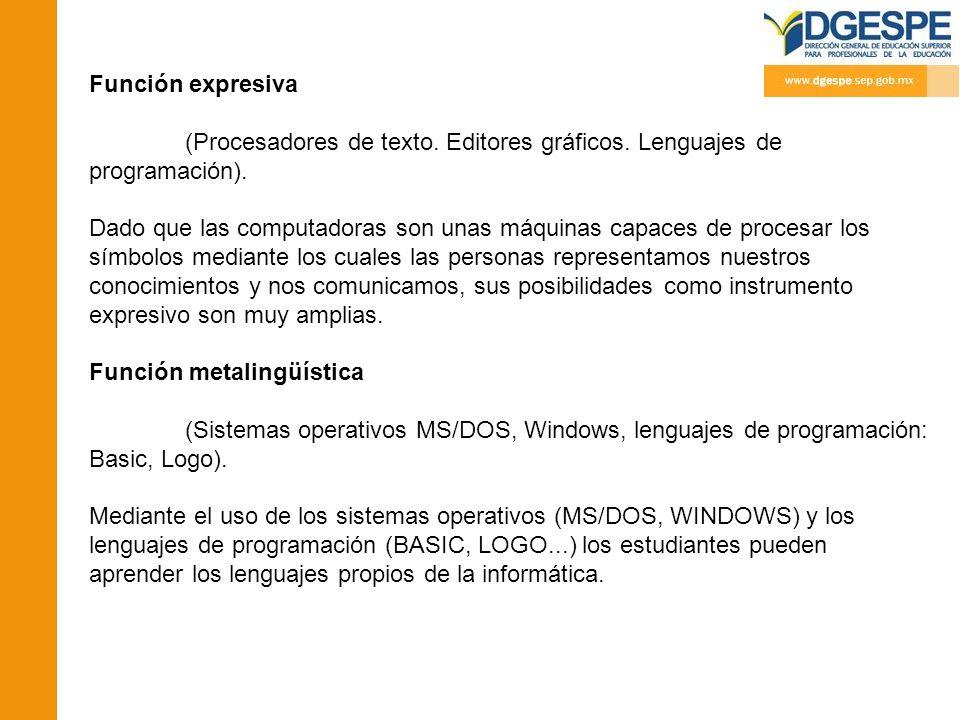 Función expresiva (Procesadores de texto. Editores gráficos. Lenguajes de programación).