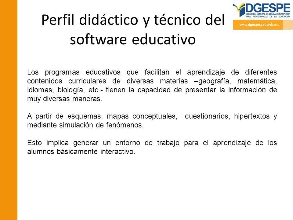 Perfil didáctico y técnico del software educativo