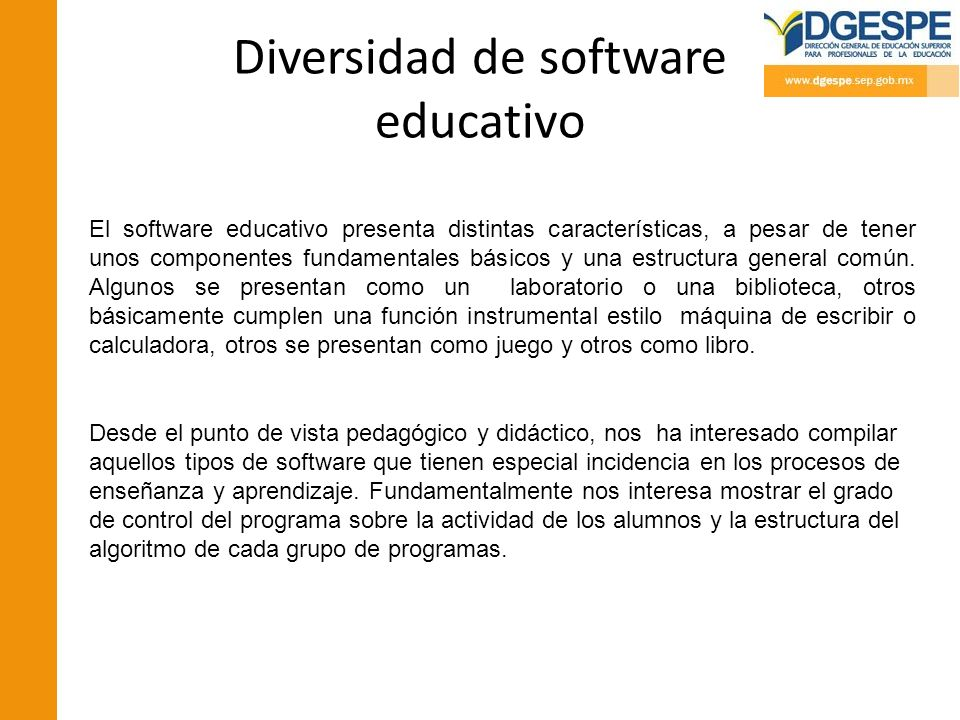 Diversidad de software educativo