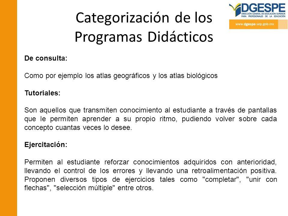 Categorización de los Programas Didácticos