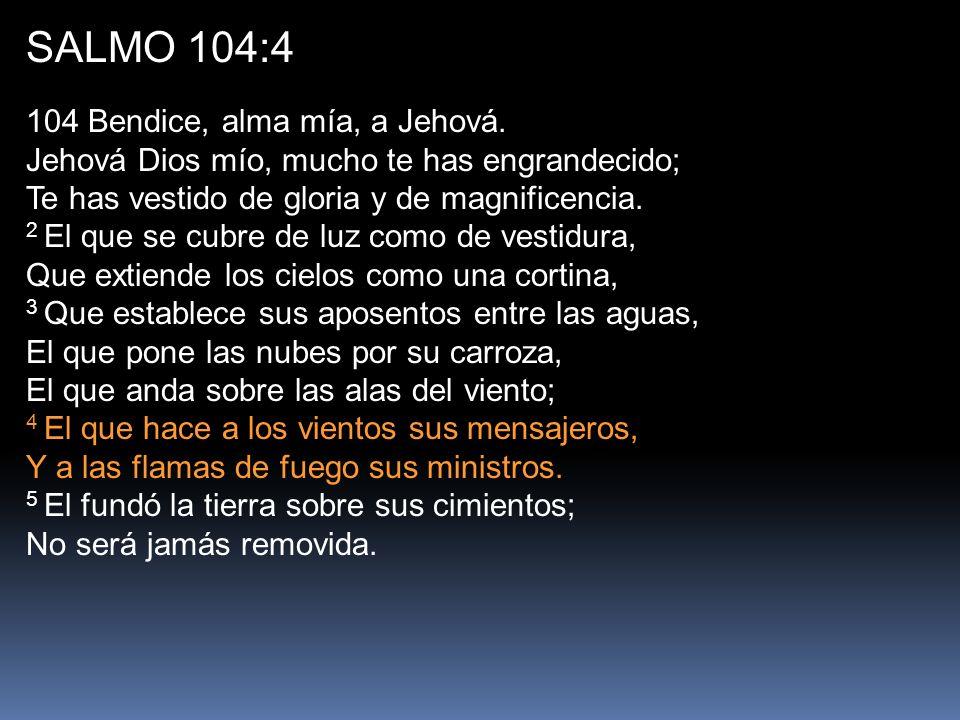 SALMO 104:4 104 Bendice, alma mía, a Jehová. Jehová Dios mío, mucho te has engrandecido; Te has vestido de gloria y de magnificencia.