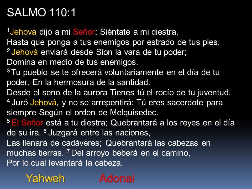 SALMO 110:1 1Jehová dijo a mi Señor: Siéntate a mi diestra, Hasta que ponga a tus enemigos por estrado de tus pies.