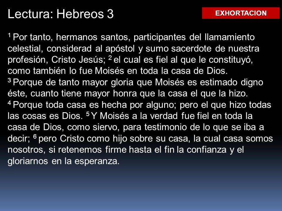 Lectura: Hebreos 3 EXHORTACION.