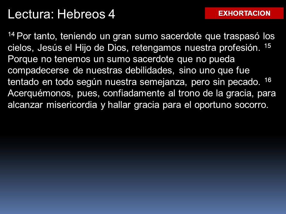 Lectura: Hebreos 4 EXHORTACION.