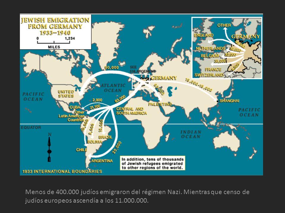 Menos de 400. 000 judíos emigraron del régimen Nazi