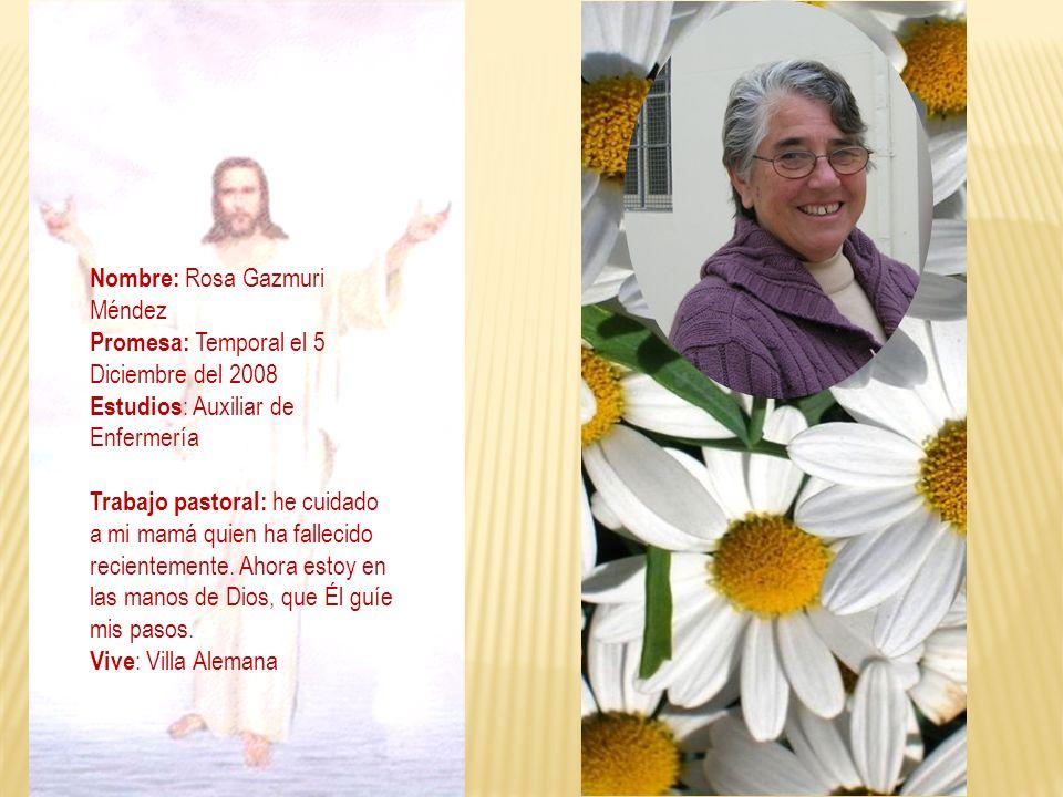 Nombre: Rosa Gazmuri Méndez
