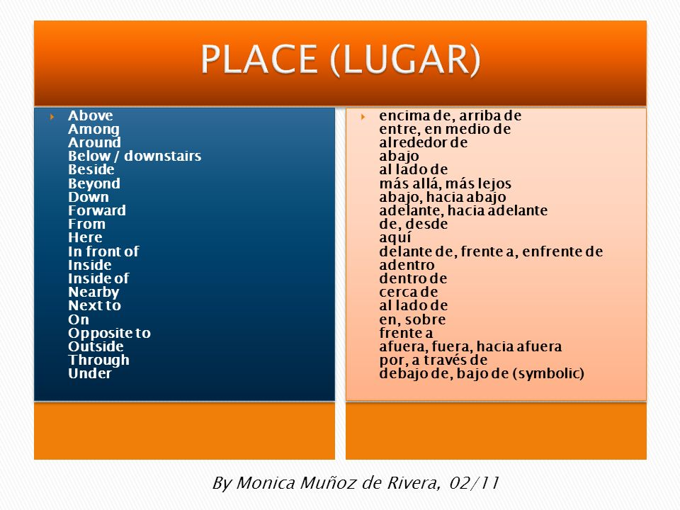 PLACE (LUGAR) By Monica Muñoz de Rivera, 02/11