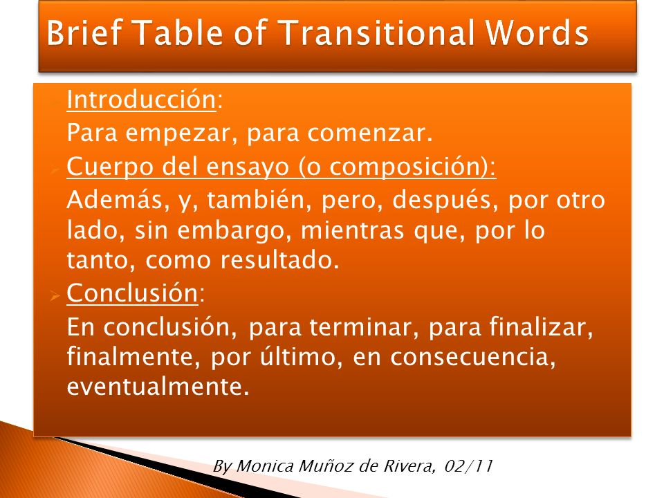 Brief Table of Transitional Words