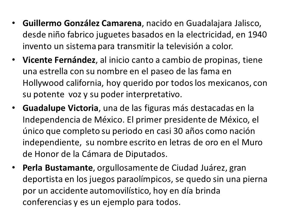 Guillermo González Camarena, nacido en Guadalajara Jalisco, desde niño fabrico juguetes basados en la electricidad, en 1940 invento un sistema para transmitir la televisión a color.