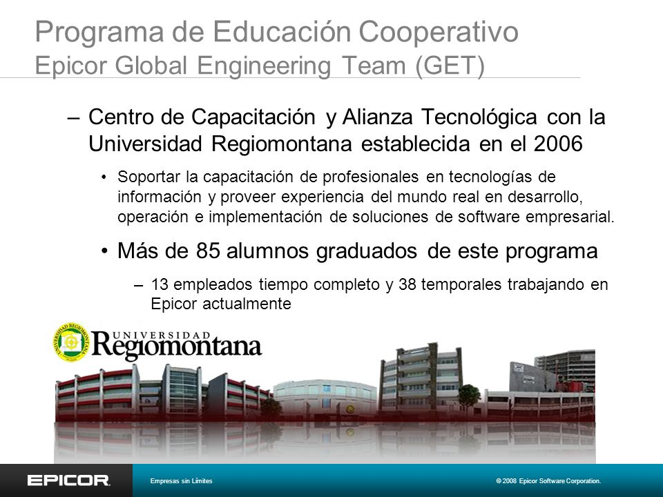 Programa de Educación Cooperativo Epicor Global Engineering Team (GET)