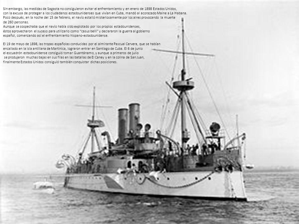 Sin embargo, las medidas de Sagasta no consiguieron evitar el enfrentamiento y en enero de 1898 Estados Unidos,